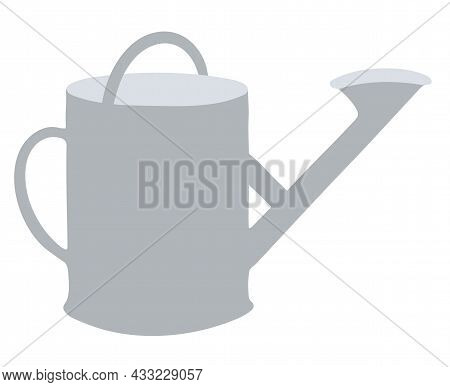 Garden Watering Can With A Handle. Tools And Inventory. Isolated Vector Element On White Background.