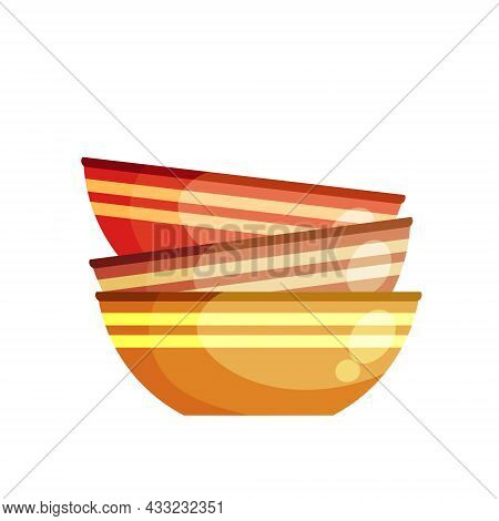 Pile Of Plates. Stack Of Kitchen Utensils. Clay Bowls. Flat Cartoon Illustration Isolated On White