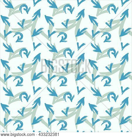 Blue And Grey Arrows Seamless Pattern. Hand Drawn Vector Background.