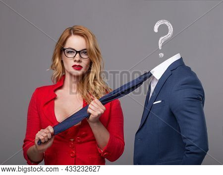 Sexy Blonde Woman Choosing The Right Man Concept, Man Without Had And With Question Mark