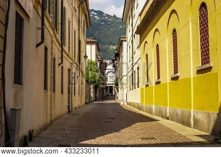 Milano, Italy - June 15, 2017: View Of Traditional Colorful Buildings In Milano Downtown On A Sunny
