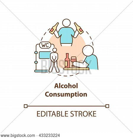 Alcohol Consumption Concept Icon. Spirits Consumption Leads To Water Loss. Intoxication Consequences