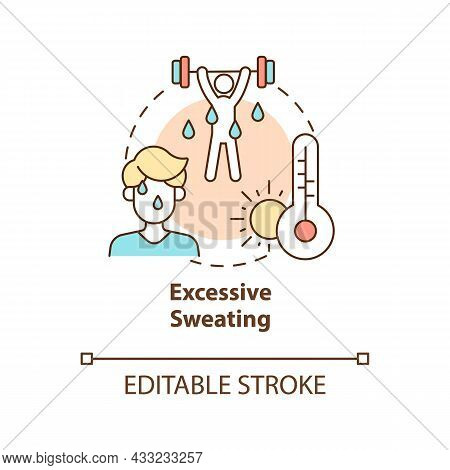Excessive Sweating Concept Icon. Hot Weather Leads To Sweating And Heatstroke. Exercising. Dehydrati