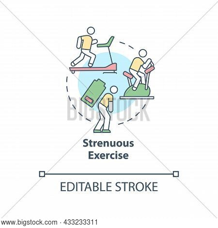 Strenuous Exercise Concept Icon. Intense Activity Requires Additional Fluid Consumption. Rehydration