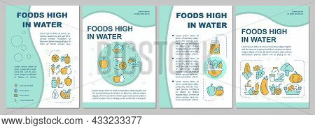 Foods High In Water Blue Brochure Template. Fruits, Vegetables. Flyer, Booklet, Leaflet Print, Cover