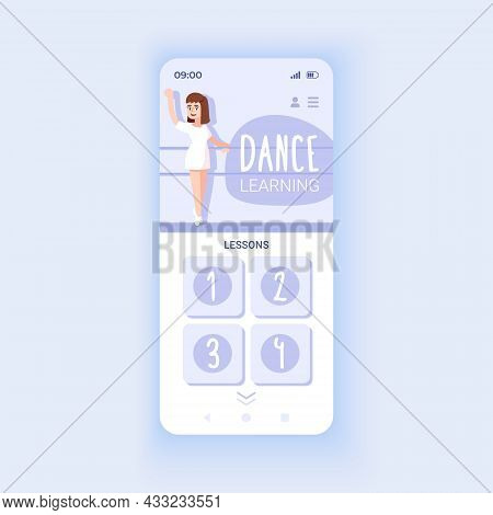Dance Learning App Smartphone Interface Vector Template. Mobile App Page Design Layout. Step-by-step