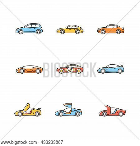 Sports Car Models Rgb Color Icons Set. Non-standard Door Designs. High-speed Driving Experience. Per