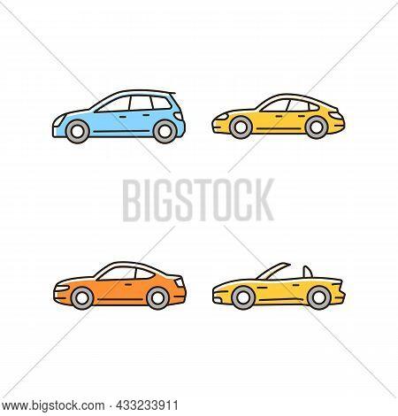 Practical Sports Cars Rgb Color Icons Set. Hatchback Model. Sports Sedan. Coupe Automobile. Cabriole