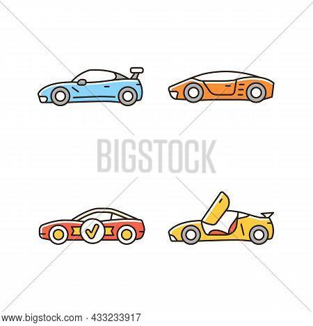 Race Car Models Rgb Color Icons Set. Customized Vehicle. World-class Auto. Unique Door Design. High-