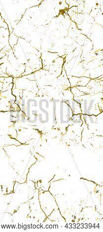 Distress Grunge Texture. Elegant Seamless Pattern. Gold Old, Retro Background. Broken, Cracked Wall