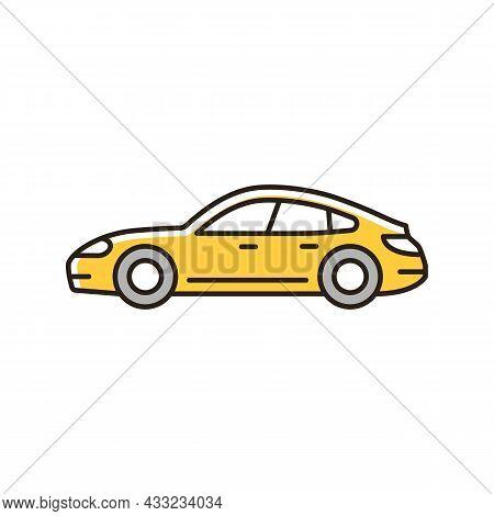 Sports Sedan Rgb Color Icon. Luxury Passenger Vehicle. Four-door Sports Automobile. Stylish Performa