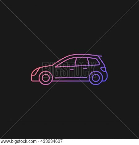 Hatchback Gradient Vector Icon For Dark Theme. Cheap Sports Car. Auto With Two-box Design. Access To