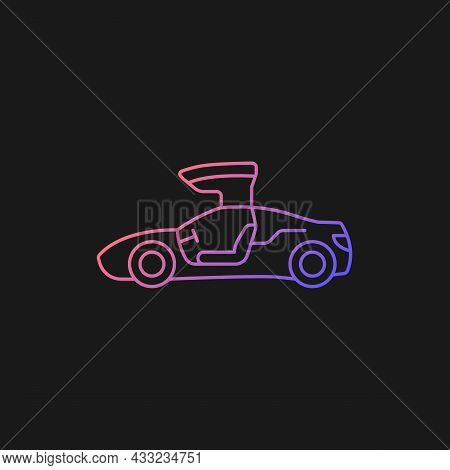 Gullwing-doored Vehicle Gradient Vector Icon For Dark Theme. Automobile With Falconwing Doors Openin
