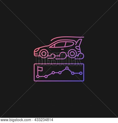 Rallying Event Gradient Vector Icon For Dark Theme. Motor Sport Competition. Challenge For Performan
