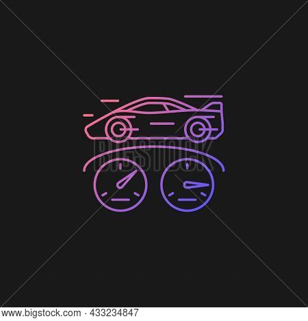 Top Speed Gradient Vector Icon For Dark Theme. Sports Car Racing. Detect Vehicle Speed. Professional