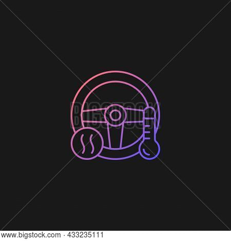 Heated Steering Wheel Gradient Vector Icon For Dark Theme. Providing Comfort To Driver. Keeping Hand