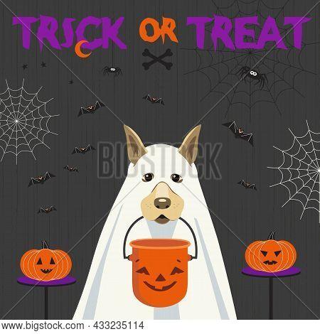 Dog In Ghost Costume And Halloween Bucket Vector. Cute Spooky Ghost Dog, Candy Bucket Cartoon Design
