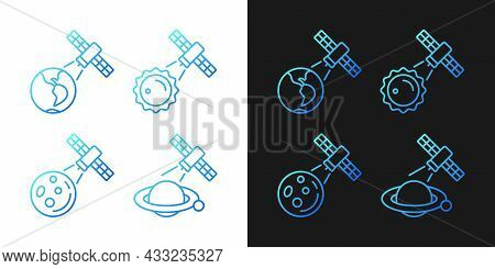 Celestial Bodies Observation Gradient Icons Set For Dark And Light Mode. Thin Line Contour Symbols B