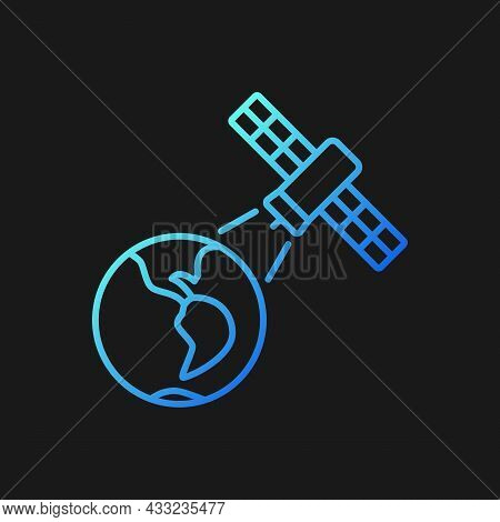 Earth Observation Process Gradient Vector Icon For Dark Theme. Terrestial Surface Investigation By A