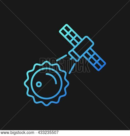 Sun Observation Process Gradient Vector Icon For Dark Theme. Heliophysics Science Investigation Perf