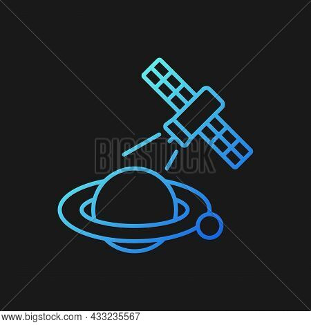 Planets Observation Process Gradient Vector Icon For Dark Theme. Capturing Planetary Anomalies With