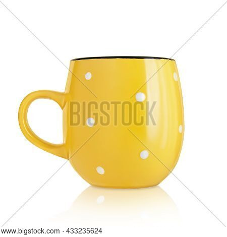 Ceramic Cup. Ceramic Mug With Pattern Isolated On White Background. Cup With A Handle. Yellow Mug. D