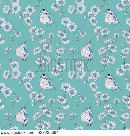 Seamless Pattern Butterfly Graphic Design Print. Floral Pattern With Wild Flowers On Light Blue Back