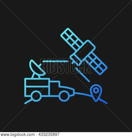Military Use Of Satellites Gradient Vector Icon For Dark Theme. Military Communication, Information