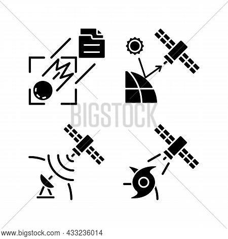 Climate Monitoring Satellites Black Glyph Icons Set On White Space. Remote Sensing Satellite. Meteor