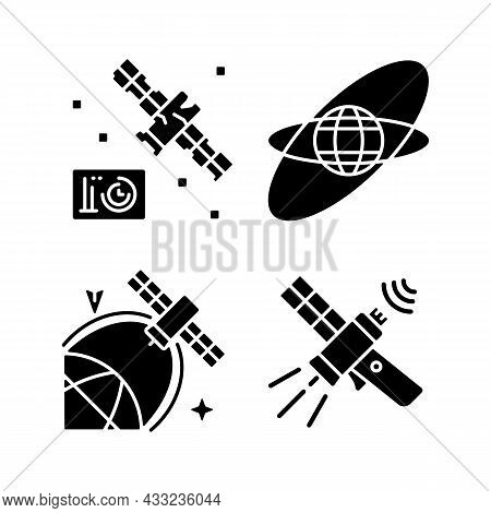 Satellites In Space Black Glyph Icons Set On White Space. Science Spacecraft Location, Positioning I