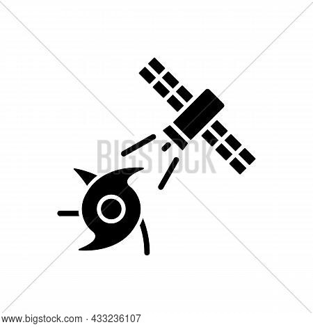 Weather And Climate Monitoring Satellite Black Glyph Icon. Climate Change Investigation. Meteorologi