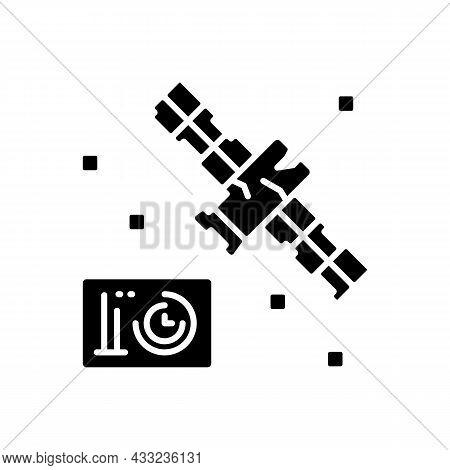 Satellite Condition Black Glyph Icon. Artifial Satelite Breakdown In Outer Space Investigation. Sate