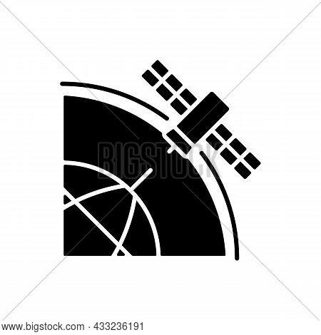 Polar Satellite Black Glyph Icon. Artifial Satelite Investigating Pole Surface. Polar Magnetosphere,