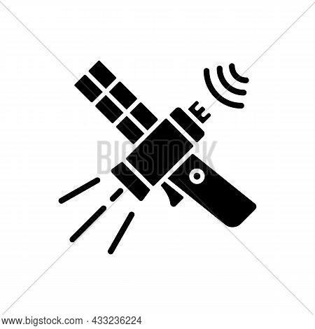 Communications Satellite Black Glyph Icon. Transmiting Signal Satelite. Global Telecommunications Ne