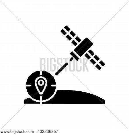 Navigation Satellite Black Glyph Icon. Artificial Satellite-based Radionavigation Global System. Gps