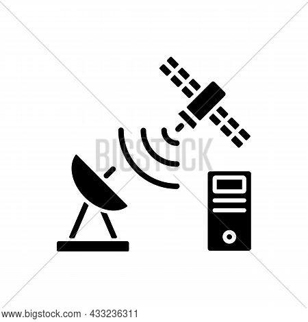Tcp Over Satellite Black Glyph Icon. Transmission Control Protocol Standarts. Global Telecommunicati