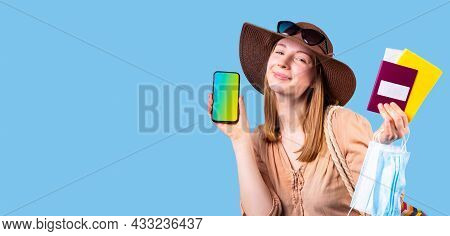 Very Glad Woman Tourist Wearing Hat And Sunglasses Posing On Camera Holding Mobile Phone, Medical Ma