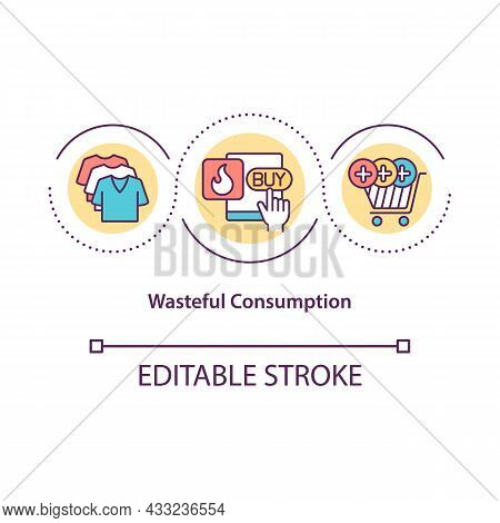 Wasteful Consumption Concept Icon. Excessive Spending. Overbuying Leads To Overproducing Abstract Id