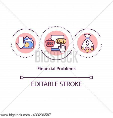 Financial Problems Concept Icon. Excessive Buying Leads To Debts. Shopaholism. Overspending Abstract