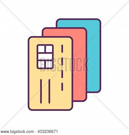 Credit Card Rgb Color Icon. Payment Option. Online Shopping. Money Management. Cardholder. Excessive