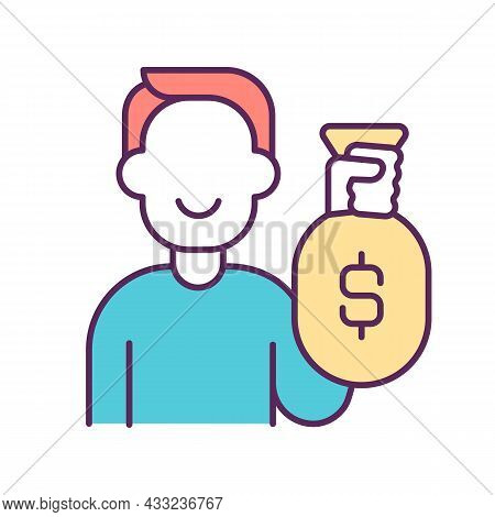 Wealthy Person Rgb Color Icon. Rich Man. Luxurious And Lavish Lifestyle. Following Fashion Trends. E