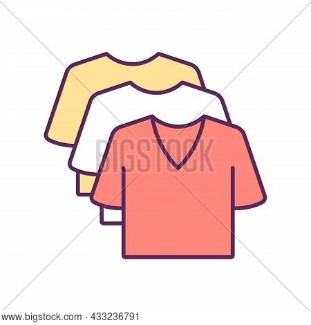 Apparel Rgb Color Icon. Various T Shirts. Sportswear Wardrobe. Casual Style Outfit. Shopping Clothin