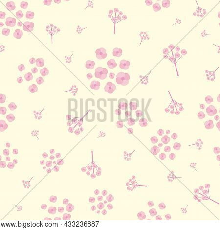 Simple Pink Forget-me-not Floral Seamless Vector Pattern Background. Sprigs And Groups Mysotis Flowe