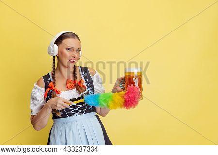 Comic Portrait Of Beautiful Oktoberfest Woman, Waitress Wearing A Traditional Bavarian Or German Dir