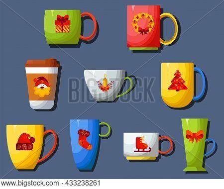 Flat Design. Isolated. A Set Of Mugs With Christmas Drawings. Festive, Christmas Mugs.