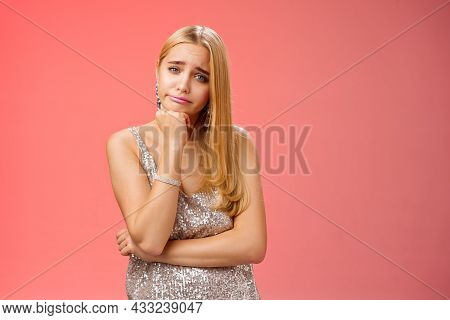 Bored Uninterested Careless Attractive Elegant Young Glamour Blond Woman Lean Head Smirking Indiffer