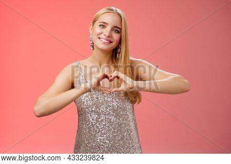 Romantic Passionate Charming Lovely Blond Glamour Woman In Silver Dress Brilliants Show Heart Love G