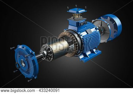 Electric motor parts and structure  on black background. 3d illustration