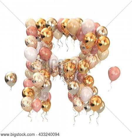 Letter R from balloons isolated on white. Text letter for holiday, birthday, celebration. 3d illustration