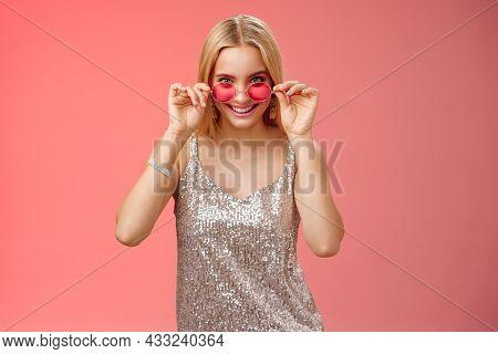 Lucky Attractive Stylish European Blond Female Having Fun Friends Nightclub Wearing Silver Glitterin